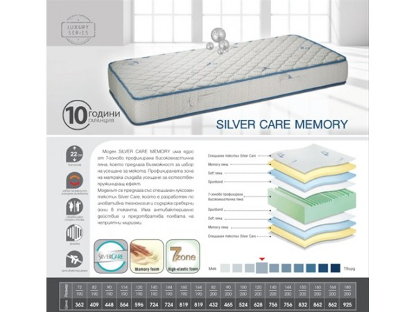 Матрак Silver Care Memory 82/190