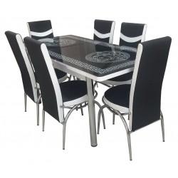 Тр.маса + 6 стола Версаче черно